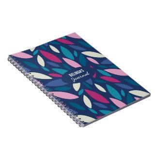 Modern leaf design in blue and pink spiral notebook