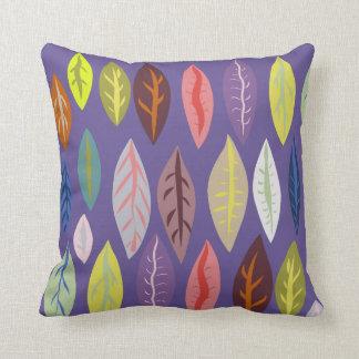 Modern Leaf Pattern on Violet Throw Pillow