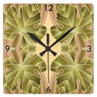 Modern Leaf Wall Clock-Home-Green/Tan/Pink Wallclocks
