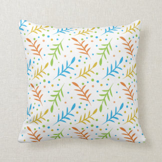 Modern Leaves And Dots Pattern on White Throw Pillow