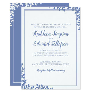 Modern Leaves Wedding Invitation | Blue-Gray