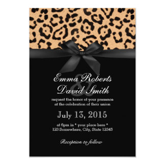 Modern Leopard Print Black Ribbon Wedding Card