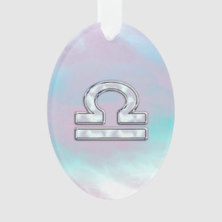 Modern Libra Zodiac Sign Mother of Pearl Style Ornament