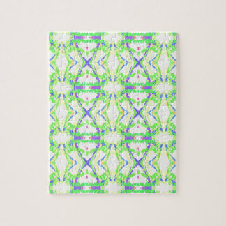 Modern Light And Airy Green Blue Tribal Pattern Puzzle