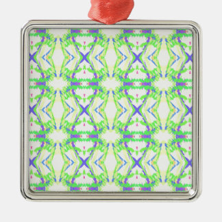 Modern Light And Airy Green Blue Tribal Pattern Silver-Colored Square Ornament