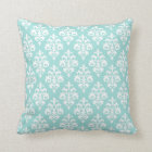Modern Light Aqua and White Damask Throw Pillow