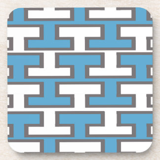 Modern Light Blue and White Bricks Coaster