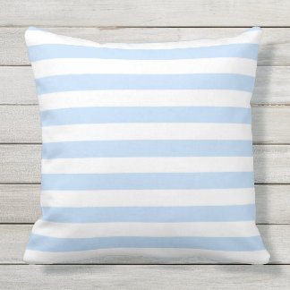 Modern light blue and white stripes pattern throw pillow