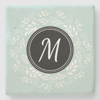 Modern Light Blue Floral Wreath Personalized Stone Coaster