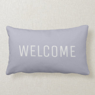 Modern Light blue Gray summer Welcome Lumbar Pillow