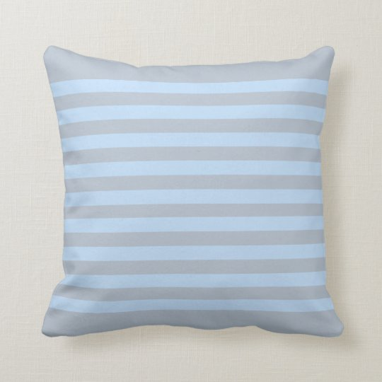 Modern light blue grey stripes throw pillow