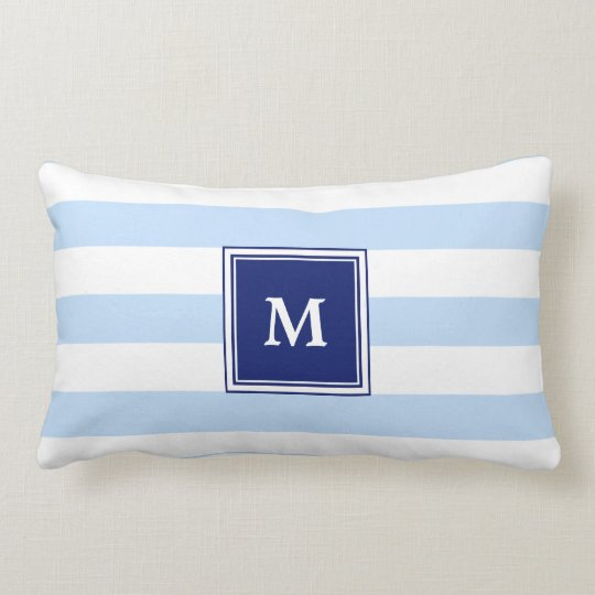 Modern light Blue Stripes Monogram Throw Pillow
