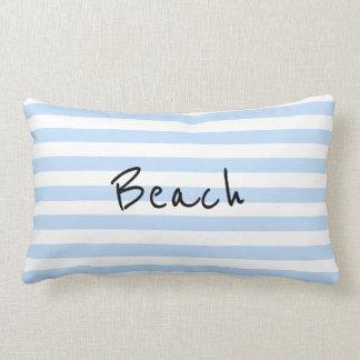 Modern light blue white stripes Beach ocean pillow