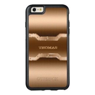 Modern Light Brown And Gold Brushed Metal Look OtterBox iPhone 6/6s Plus Case