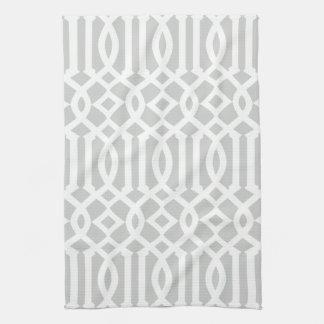 Modern Light Gray and White Trellis Pattern Kitchen Towel