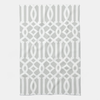 Modern Light Gray and White Trellis Pattern Kitchen Towels