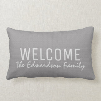 Modern light gray burlap Welcome Family monogram Lumbar Pillow