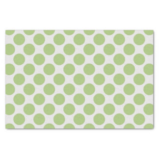 Modern Light Green and White Large Polka Dots Tissue Paper