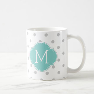 Modern Light Grey Polka-dots with Blue monogram Coffee Mug