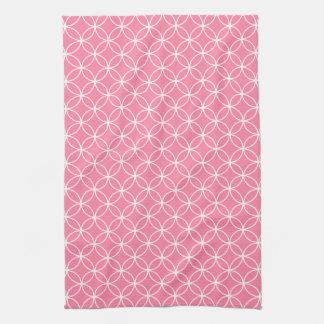 Modern Light Pink and White Circle Diamond Pattern Kitchen Towel