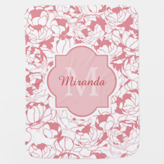Modern Light Pink Floral Girly Monogram With Name Baby Blanket