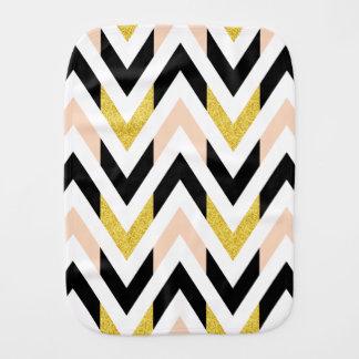 Modern Light Pink, Gold, Black, White Chevron Baby Burp Cloths