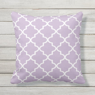Modern Lilac Purple and White Moroccan Quatrefoil Outdoor Pillow