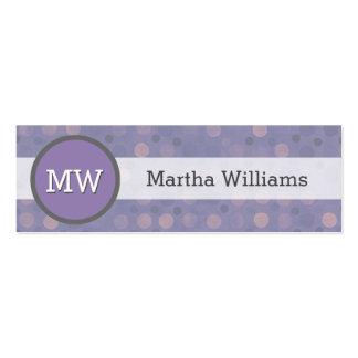 Modern Lilac Purple Polka Dot Pattern Monogram Mini Business Card