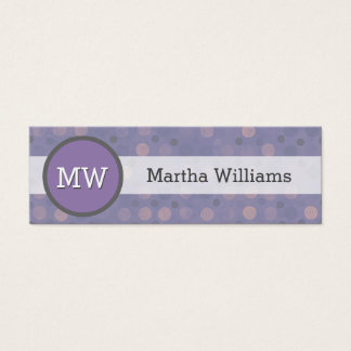 Modern Lilac Purple Polka Dot Pattern Monogram Mini Business Card