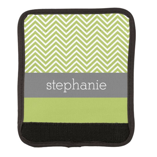 Modern Lime and Charcoal Chevron Pattern with Name Luggage Handle Wrap