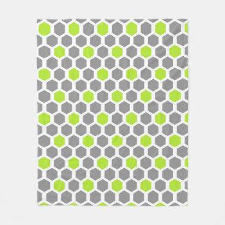 Modern Lime and Grey Hexagon Geometric Pattern Fleece Blanket
