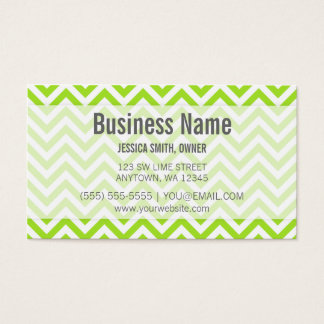 Modern Lime Green and White Chevron Pattern Business Card
