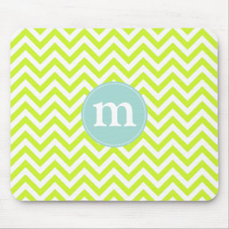 Modern Lime Green Chevron Personalized Mouse Pad