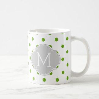 Modern Lime Green Polka-dots with monogram Coffee Mug