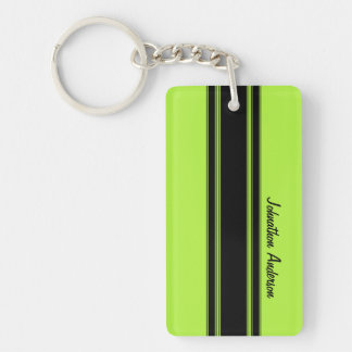 Modern Lime Green Racing Stripes With Name Keychain