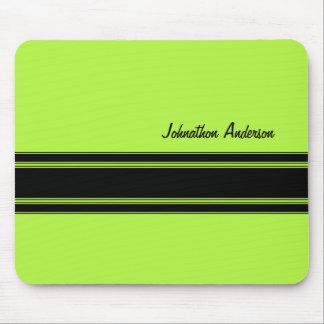 Modern Lime Green Racing Stripes With Name Mousepad