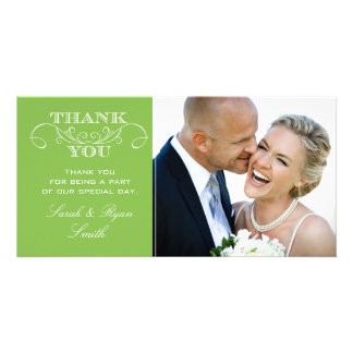 Modern Lime Green Wedding Photo Thank You Cards Picture Card