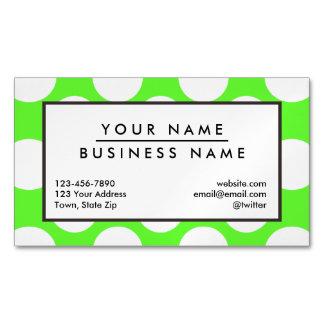 Modern Lime Green White Polka Dots Pattern Business Card Magnet