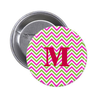 modern lime-pink zig zags 2 inch round button