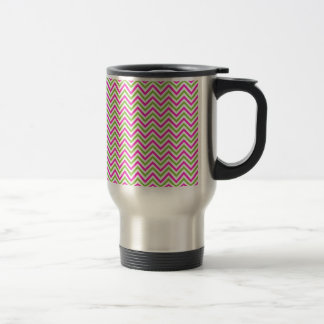 modern lime-pink zig zags travel mug