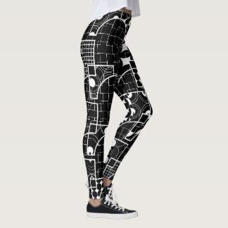 Modern Line Geometric white pattern on Black Leggings