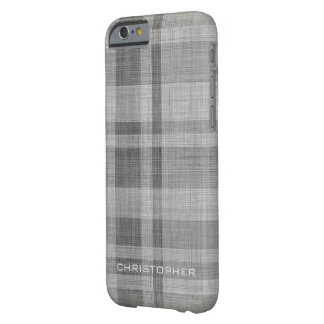 Modern Linen Plaid Pattern Personalized Name Barely There iPhone 6 Case