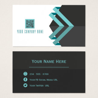 Modern Lines Aqua and  Charcoal with QR Code Business Card