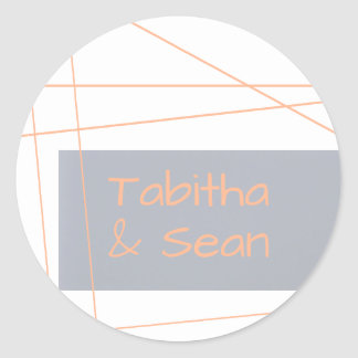 Modern Lines Peach - Circle Sticker