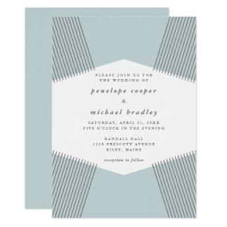 Modern Lines Robin's Egg Blue Wedding Invitation