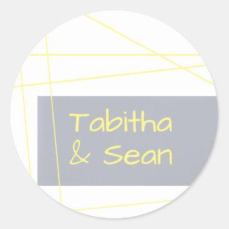 Modern Lines Yellow - Circle Sticker