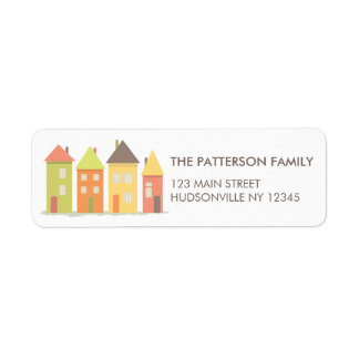 Modern Little Row of Houses Address Label