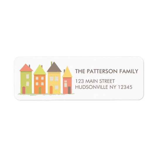 Modern Little Row of Houses Address Label