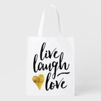 Modern Live Laugh Love Bag Grocery Bags