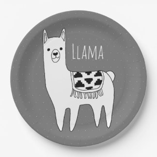 Modern Llama Sketch Baby Shower Paper Plate